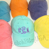 Ladies Monogrammed Baseball Cap Preppy Personalized Beach Hat Elegant Monogram Personalized Gift
