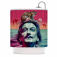 "Jared Yamahata ""Babou"" Pink Illustration Shower Curtain"