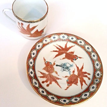 Vintage Goldfish Teacup and Saucer Set by Zhongguo Zhi Zao Fancy Fantail Telescope Gold fish shrimp prawn handpainted china porcelain asian