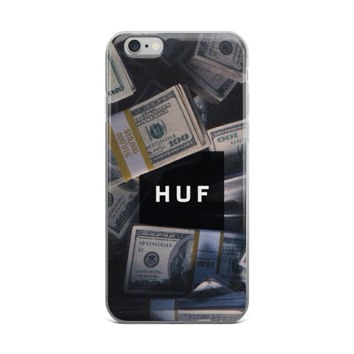 """HUF Money"" Huf Millionaire Billionaire $10,000 Stack Rich Money Collage $100 Hundred Dollar Bill Ben Franklin iPhone 4 4s 5 5s 5C 6 6s 6 Plus 6s Plus 7 & 7 Plus Case"