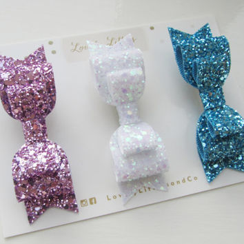 Glitter fabric double bow hair clip - set of 3 - so Sparkly!!! Can be made in any colour - for child and adult!