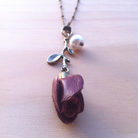 "Single Rose ""Tough Beauty"" Necklace - Leather Bloom"