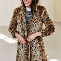 Capulet Leopard Drivers Coat - Urban Outfitters