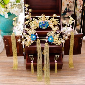 Chinese bride headdress costume blue butterfly hairpin wedding taseel hairwear and earrings photography accessories helei