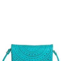 Street Level Perforated Faux Leather Mini Crossbody Bag