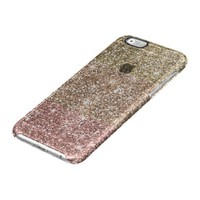Ombre Rose Pink Gold Faux Glitter Girly Uncommon Clearly™ Deflector iPhone 6 Case