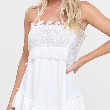 Between Us White Lace Sleeveless Spaghetti Strap Square Neck Ruffle Tiered Flare A Line Casual Mini Dress