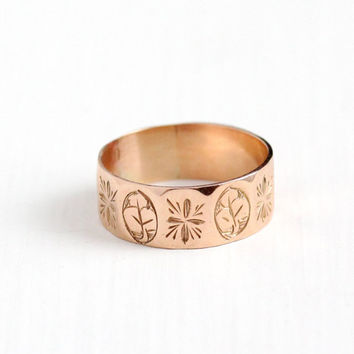 Sale - Antique Victorian 9k Rose Gold Ring Band - Size 8 Dated 1898 Thick Cigar Fine Wedding Eternity Leaf Flower Floral English Jewelry