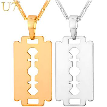 U7 Razor Blade Necklace Men Jewelry Trendy Silver/Gold/Black Color Pendant & Chain Fathers Day Gifts For Dad P559