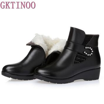 Plus size(35-43) winter women genuine leather wedges snow boots wool fur ankle boots w