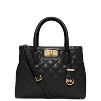Hannah Medium Quilted-Leather Satchel | Michael Kors
