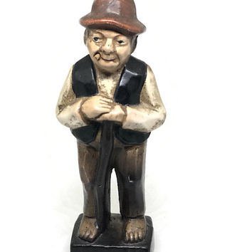 Vintage Decorama Chalkware Smoking Man with Cane Figurine, Made in Japan, Tobacciana Carved Smoking Figurine 1950s Man Figurine