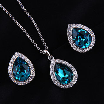 Luxurious Water Drop Blue Crystal Platinum Plated Jewelry Necklace Earring Set Rhinestone