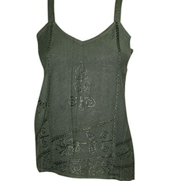 Bohemian Tank Top Strappy Green Embroidered Comfy Blouse S