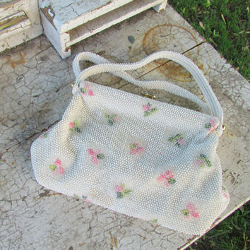 Vintage 1950's Beaded Purse Handbag by Lumured Cream by 44North