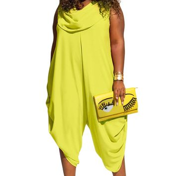 Yellow Green Sexy Cowl Neck Plus Size Loose Fitted Harem Jumpsuit