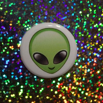 Green Emoji Alien-1.25 inch Pinback Button