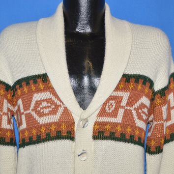 70s Cowichan Button Front Cardigan Sweater Medium
