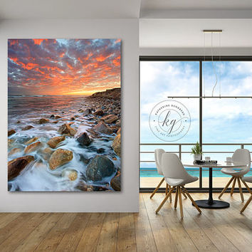 Large Canvas Wall Decor, Seascape Wall Decor, Vertical Coastal Art, Rhode Island Beach Photography, Matunuck Beach Picture Oversized Artwork