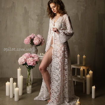 Long Lace Bridal Robe F3Lingerie Nightdress White Tie Front Nightgown