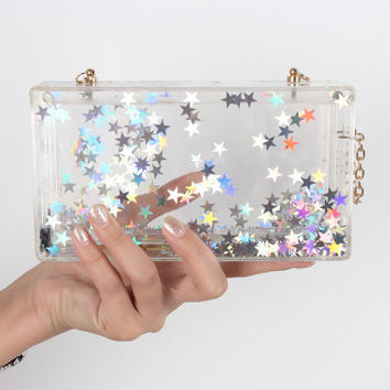 Star Clear Acrylic Lucite Box Clutch