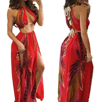 Red Floral Printed Cutout Rope Detail Maxi Dress