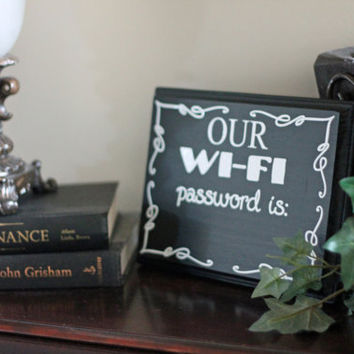 WiFi Password - Chalkboard Wooden Sign