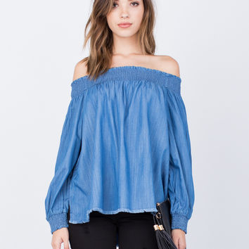 Denim Off-the-Shoulder Top