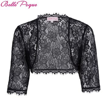 Belle Poque Jacket Women 3/4 Sleeve Open Stitch Shrug Black White Coat 2017 Ladies Fashion Lace Bolero Jackets Outerwear Coats