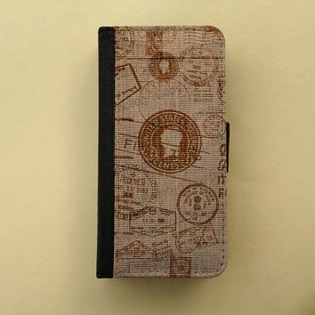 iPhone 4 / 5 case Samsung Galaxy S3 S4 wallet, iPhone wallet, book style, Samsung iPhone flip case - Burlap, Gunny sack
