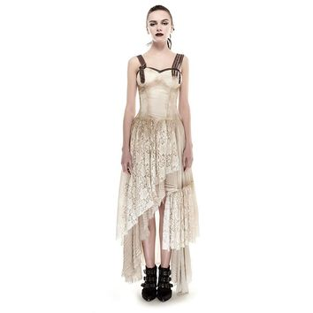 Asymmetric Hem Lace Matching Do Old Steampunk Dress Vintage Sexy Sleeveless Party Long Dress