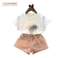 Baby girls summer sets 2016 style ice cream short sleeve t shirt + casual shorts kids tracksuit two piece set children clothes