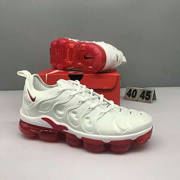 Nike Air Max Plus Tn Ultra Popular Men Comfortable Air Cushion Shock Absorption Breathable Sport Running Shoe Sneakers White(Red Sole) I-CSXY
