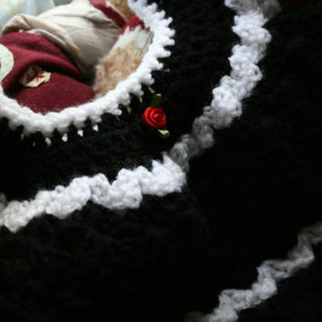 Baby crochet dress summer crochetyknitsnbits high quality hand made baby girl clothes black white red baby shower gift layette 3 to 9 months