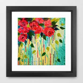 ROSE RAGE Stunning Summer Floral Abstract Flower Bouquet Feminine Pink Turquoise Lime Nature Art Framed Art Print by EbiEmporium