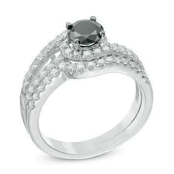 1-1/4 CT. T.W. Enhanced Black and White Diamond Wave Bridal Engagement Ring Set in 14K White Gold