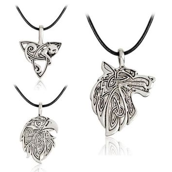 Vintage Fox Triquetra Fenrir Teen Wolf Necklace Pendant With Chain Supernatural Amulet Knot  Viking Animal Fashion Jewelry Gift