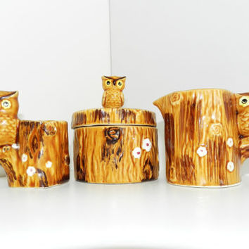 Mid Century Vintage SIGNED Lego Japan Owl Creamer Sugar Bowl Toothpick Holder Set