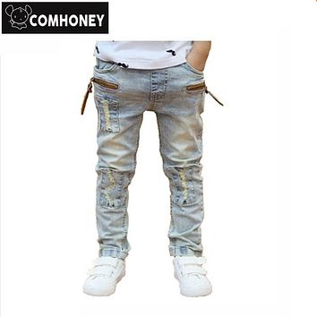 Boys Jeans Ripped For Kids Stretch Biker Jeans Pants Children Denim Trousers Girls Spring Autumn Pencil Jeans