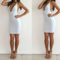 White V-Neck Backless Bodycon Dress
