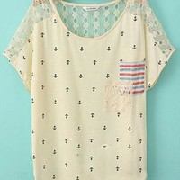 Loose Fitting Anchor Print Lace Spliced Chiffon  T-shirt from perfectmall
