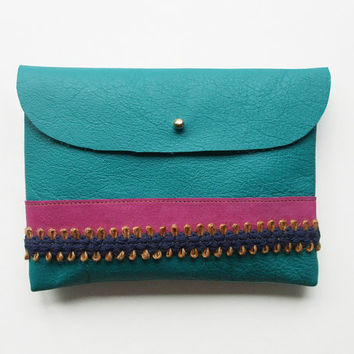 CLUTCH (m) // turquoise leather with fuschia and blue ribbon