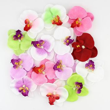 HUADODO Simulation Butterfly orchid Flowers Silk Artificial Flower Heads For Home Wedding Decoration DIY Fake Flowers 50pieces
