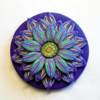 Psychedelic Glowing Purple Teal and White Flower Pendant EyeGloArts Glow in the Dark and Blacklight Jewelry #F9Dec2014