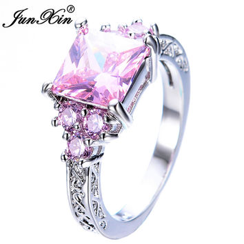 JUNXIN Fashion Princess Cut Pink Sapphire Ring Elegant White Gold Filled Jewelry Wedding CZ Rings For Women Bijoux Femme RW1305