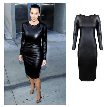 2018 SPRING Sexy Women PU Leather Dress long Sleeve Bodycon sheath Midi Office Dress Black Sexy Club Pencil Party Dress Vestidos
