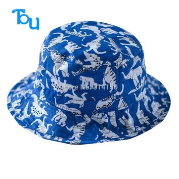 TOU free shipping baby lovely Jurassic park sunhat kids fashion cotton visor baby boy 's Fashion Knitted Reversible hat 1PC