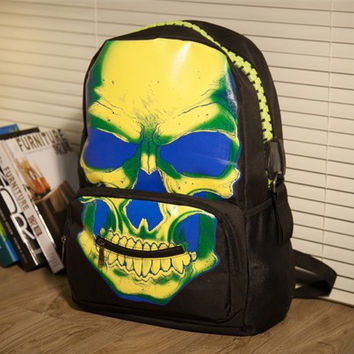 stacy bag hot sale popular women printing backpack men skull printing travel backpack male neon travel bag casual bags