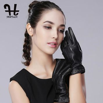 FURTALK Women's Winter Spring Warm Nappa Leather Gloves Leather Glove Cashmere Lining Texting Driving