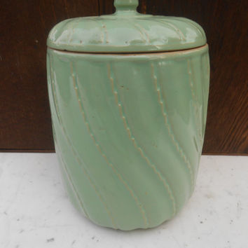 Old Mint Green Large Stoneware Yelloware Cookie Jar